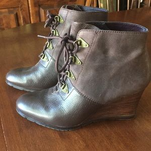 Franco Sarto mixed leather wedge booties